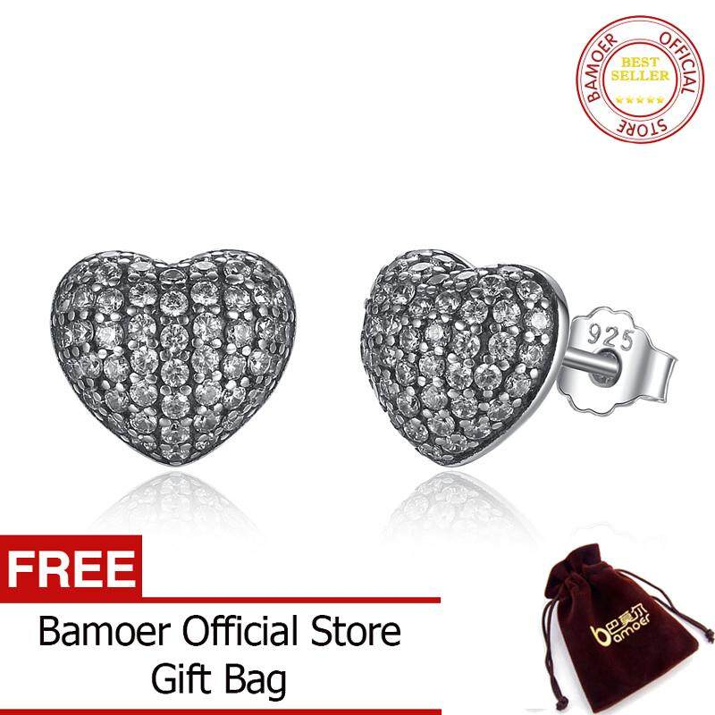 BAMOER Free Shpping Zirconia Brincos 925 Sterling Silver In My Heart Pave Stud  Earrings 55c8cecda64a