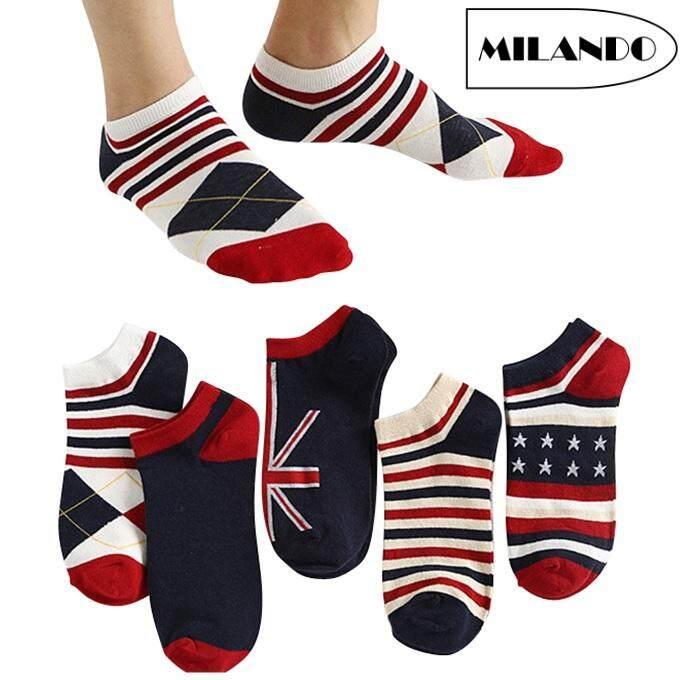 (5 Pairs) MILANDO Unisex Low Ankle Sport Cotton Men Women Sock Socks  Stoking Lelaki (Type 3: British Flag)