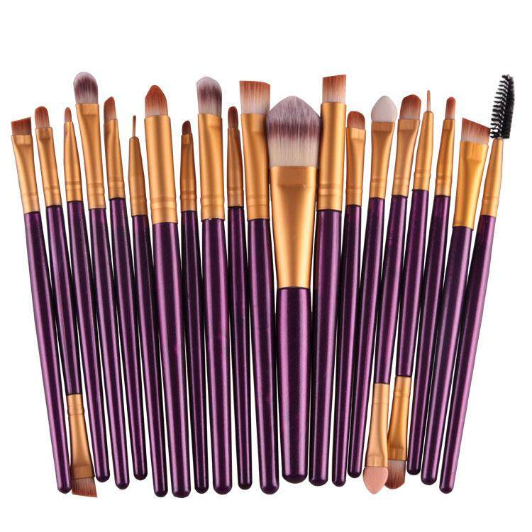 20 Pcs Make Up Brush Set Purple Gold By Glamhouse.
