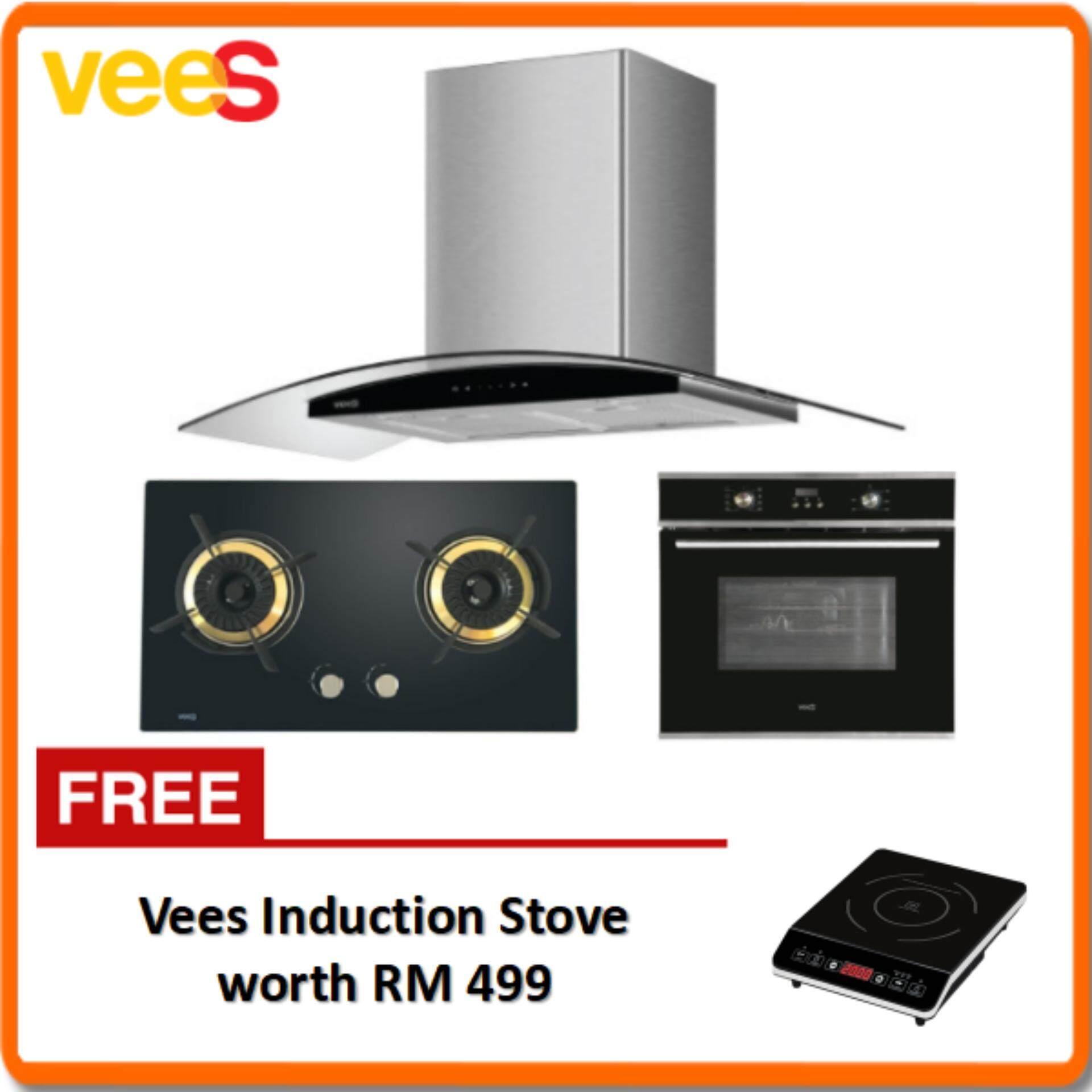 Vees DH-05A Delicooker Hood + Vees DGH-C28 Gas Hob + Vees MO-65DT08F Oven