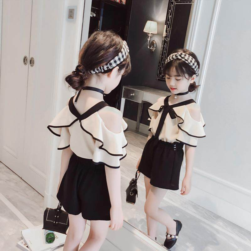 cf7db6e51 ICHOIX Girls' summer style suit 2019 new style suspender shoulder slouchy  dress Korean version of