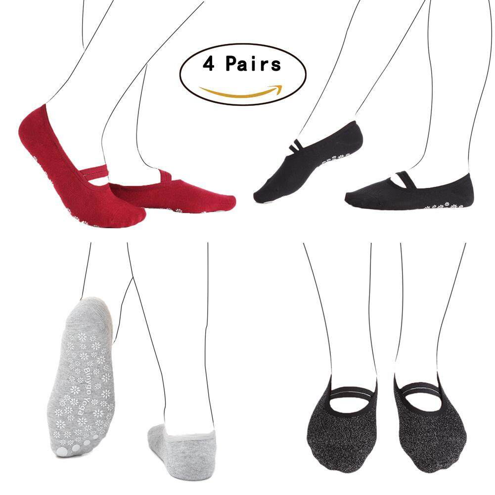 4 Pairs Of Yoga Socks Non Slip With Grips Fitness Ventilate Instep Grace Style For Women By Meming.