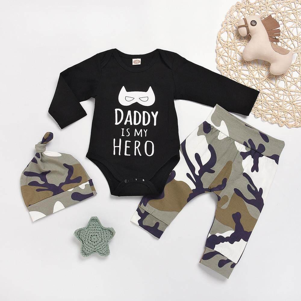 4ecc0c7b Ormondshop Newborn Infant Baby Boy Clothes Letter Cartoon Romper Tops+Camo  Pants Outfit Set