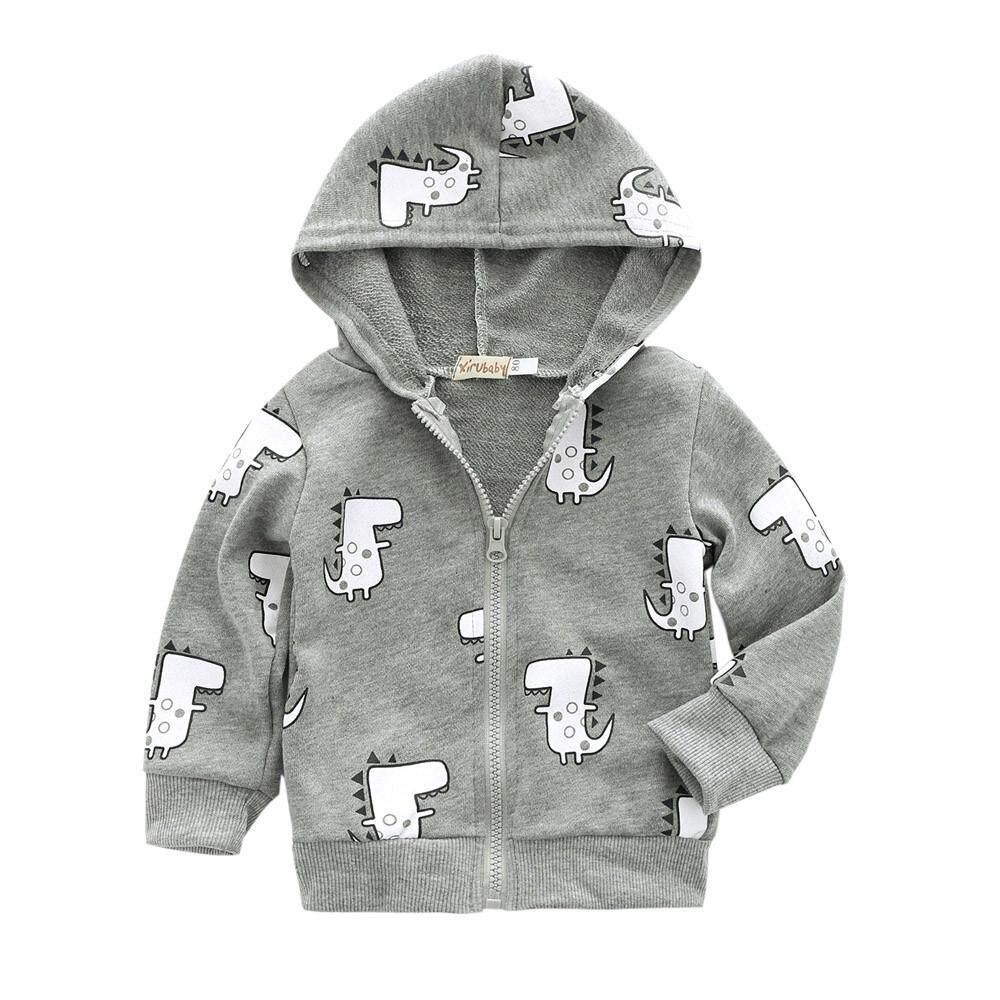 b3b930e8f16 Rowellshop Infant Toddler Baby Boys Girls Cartoon Dinosaur Hooded Zipper  Tops Clothes Coat