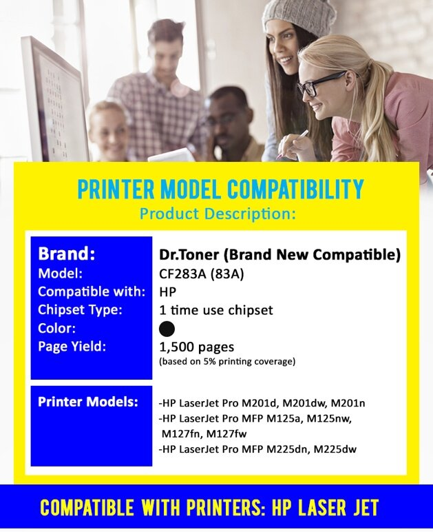 Compatible DrToner HP - CF283A / 283 / 83A (Mono/Black) x 5 Units -  LaserJet Pro M201d / M201dw / M201n / MFP M125a / MFP M125nw / MFP M127fn /  MFP