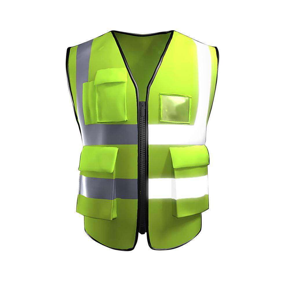 KACOO Multi-Pockets High Visibility Zipper Front Breathable Safety Vest With Reflective Strips