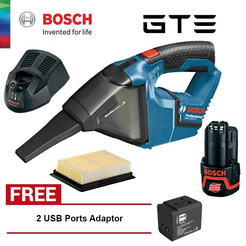 Bundle Deal - BOSCH Gas 12 V-LI Cordless Vacuum Cleaner Set (0618800057) + FREE Universal Travel Adaptor With 2 USB Ports - Fulfilled by GTE SHOP