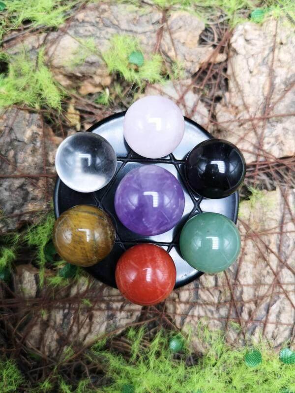 5厘米黑曜石底盘水晶球七星阵 5cm Obsidian Base Crystal Seven Array