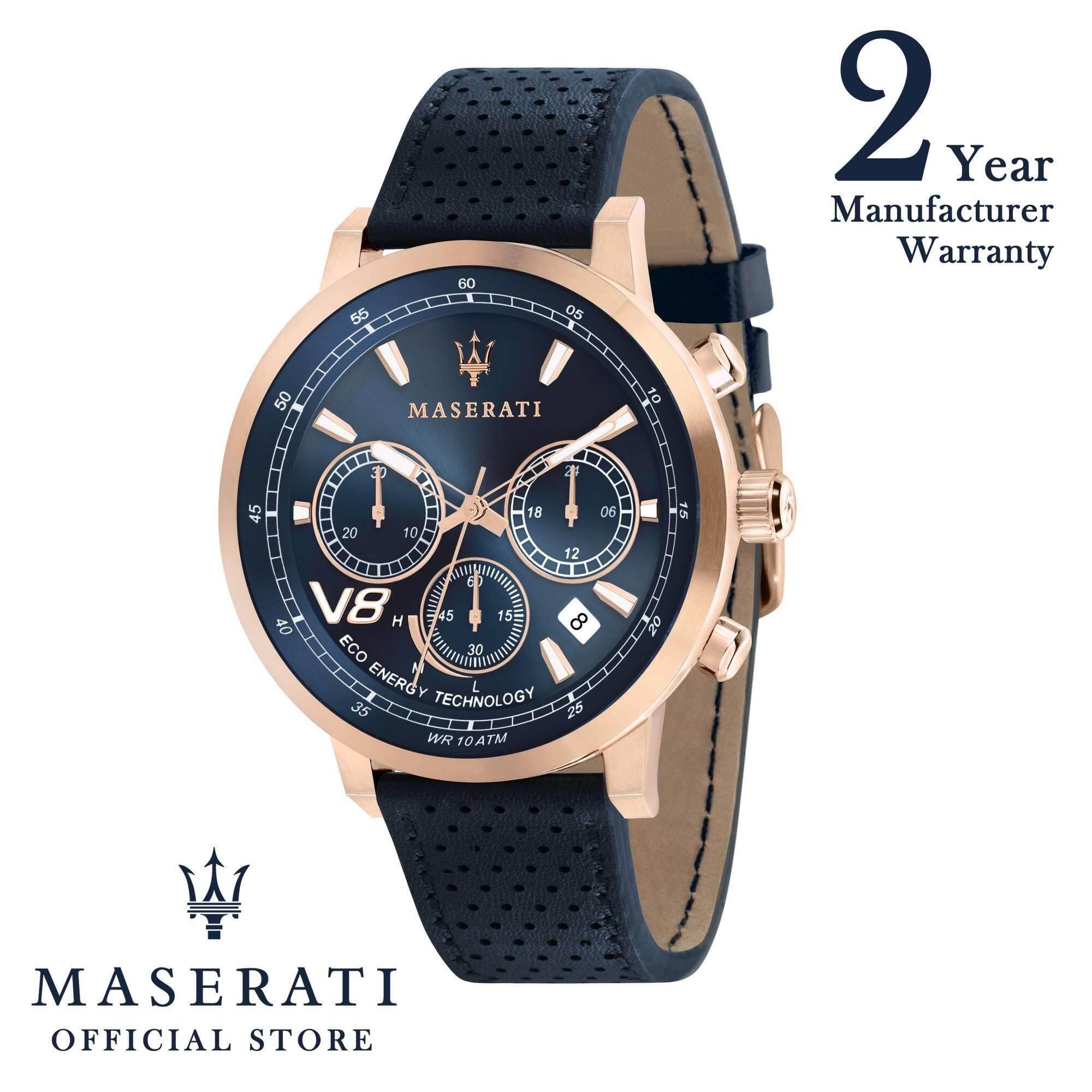 Maserati GT 44mm Blue Leather Strap Solar-Powered Quartz Men's Watch R8871134003