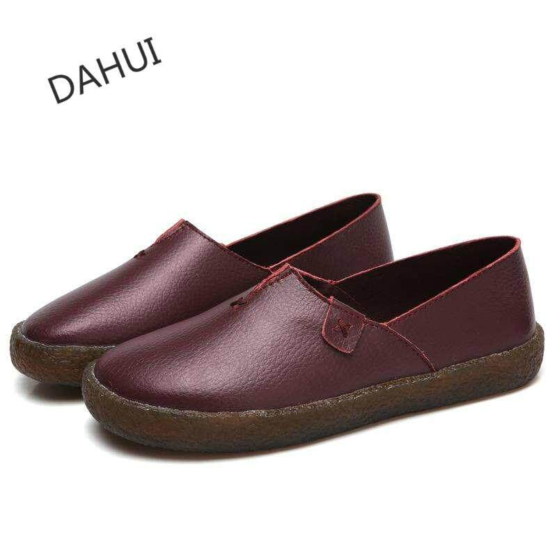 33e13c5dfa Women Genuine Leather Flats Casual Shoes Round Toe Slip On Flats Female  Loafers Driving Shoes (