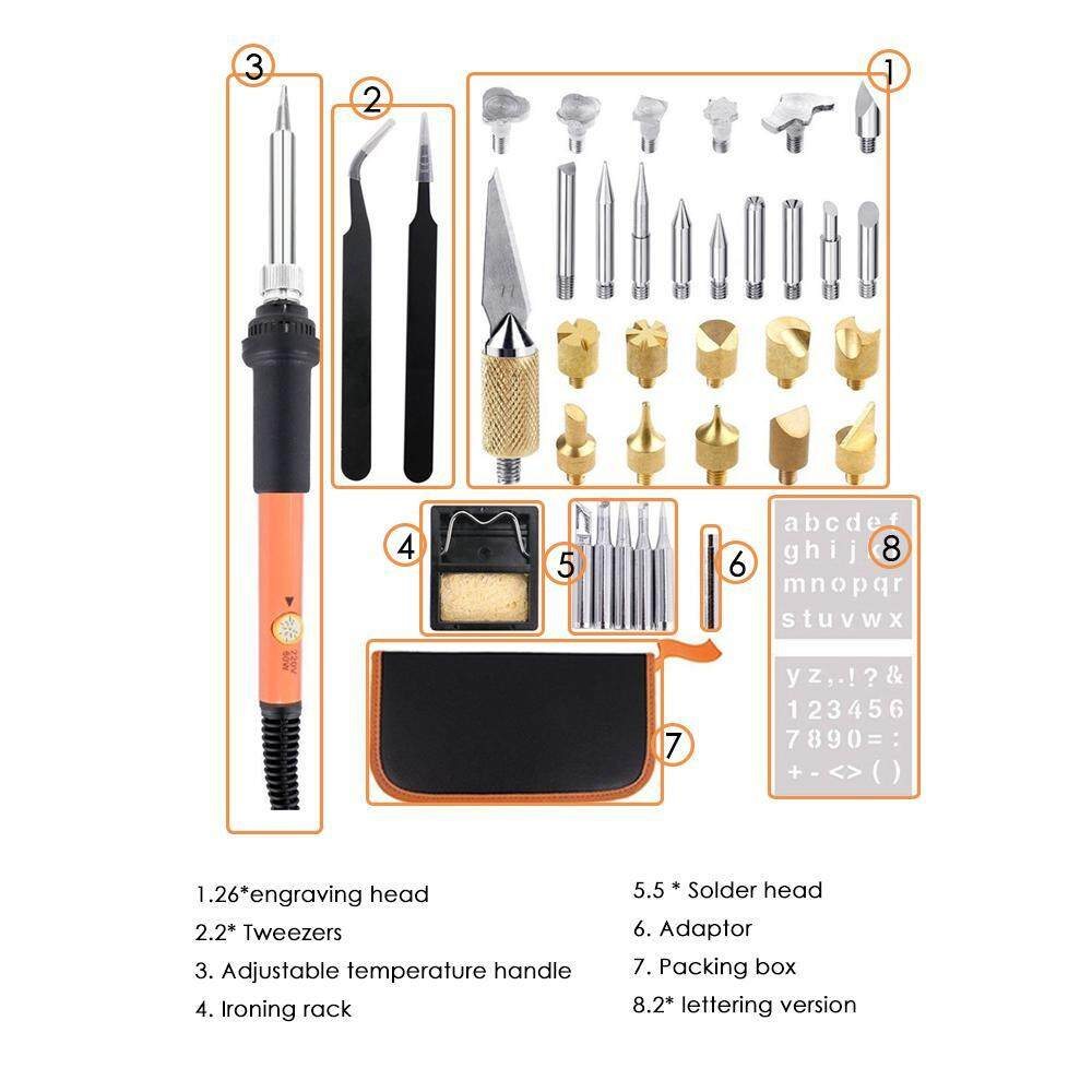 OrzBuy Electric Soldering Iron Kit ,Adjustable Temperature Engraving  Electric Iron 40 Pieces Of Engraving Tools Carving Iron Painting Heat  Transfer