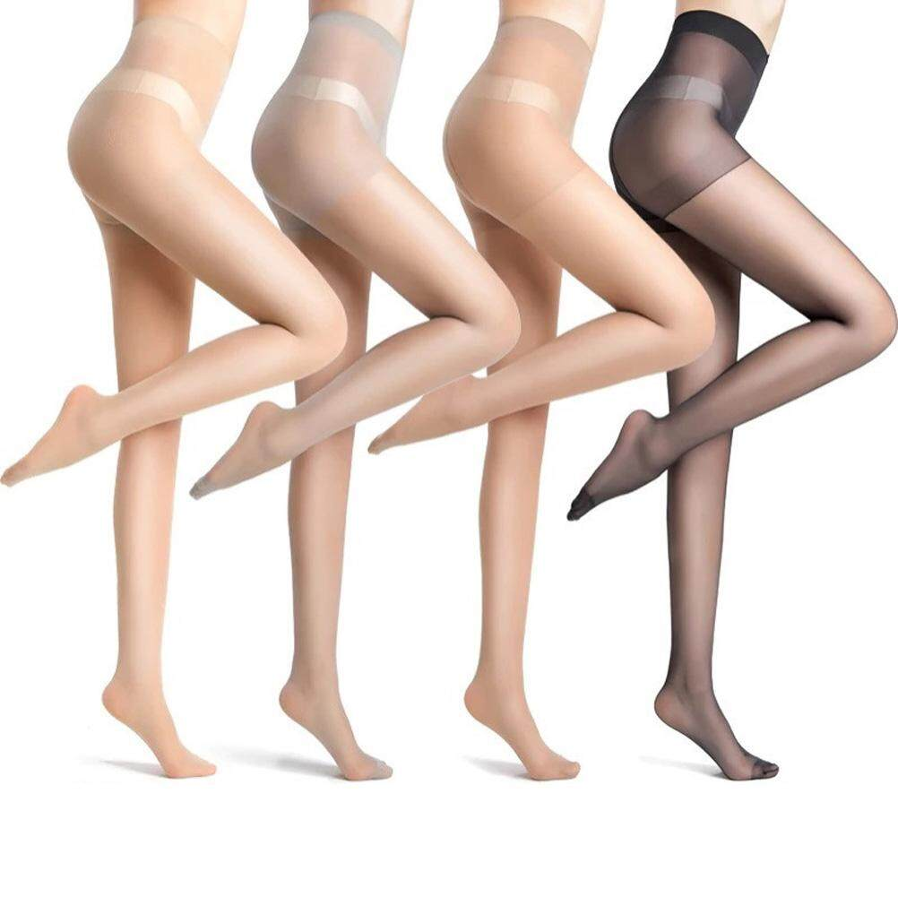 20e735a01 Puto 4 Pairs Womens Plus Size 15 Denier Control Top Sheer Pantyhose Ultra  Soft High Waist
