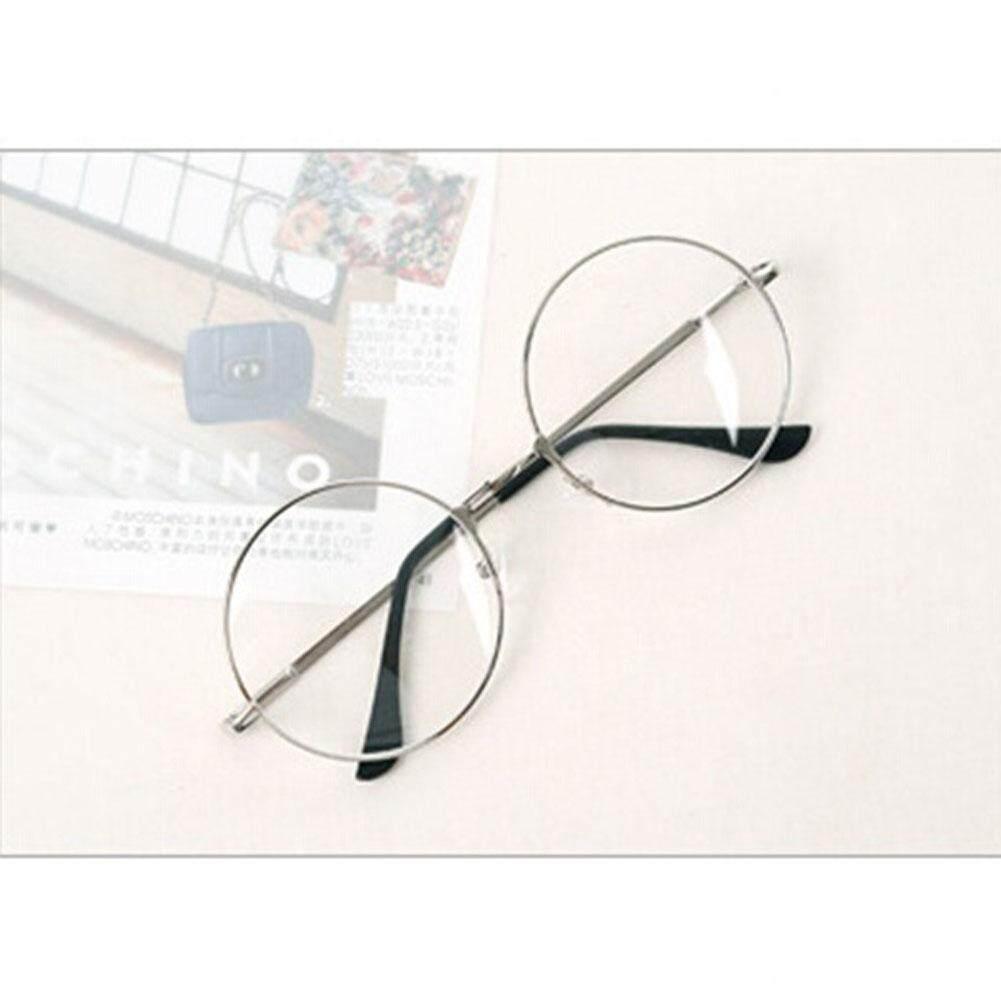 5112617634 BZY Retro Big Round Metal Frame Transparent Lens Glasses Designer Nerd  Eyewear H02