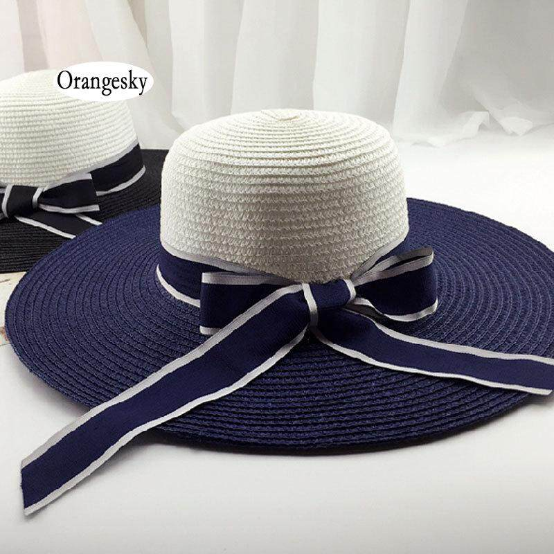 a4e8d847 Orangesky Fashion Women Striped Bowknot Summer Sun Hat Straw Large Brimmed Beach  Hats