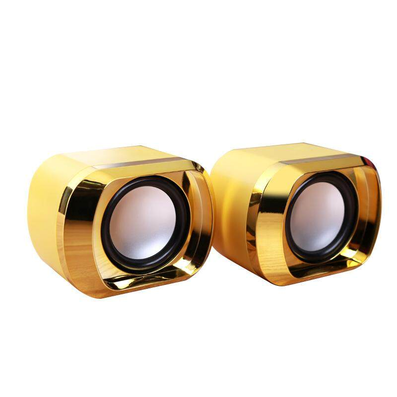 USB 2.0 Notebook Speakers Wired Stereo Mini Computer Speaker for Desktop Laptop Notebook PC MP3 MP4 3.5mm AUX IN gold Malaysia