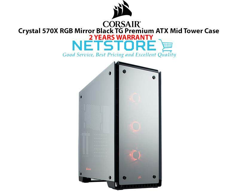 Corsair Crystal 570X RGB Mirror Black TG Tempered Glass Premium ATX Mid Tower PC Desktop Case CC-9011126-WW Malaysia