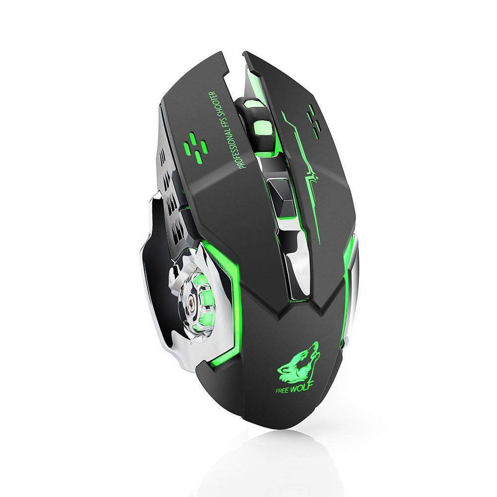 niceEshop Wireless Ergonomic Mouse 2.4GHz Rechargeable Silent Optical Pro Gamer Gaming Mice With USB Receiver, 7 Colors LED Backlit, 3 Adjustable DPI (800/1600/2400), 6 Buttons For PC Malaysia