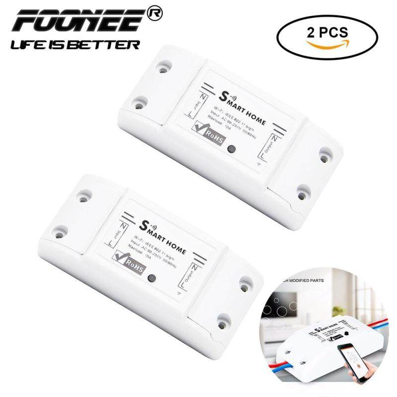 Foonee Smart Wifi Wireless Remote Timer Switch For Lamp Electric Fan Appliance ,2 Pcs Diy Sonoff Switch Via Iphone Android (Single Channel)