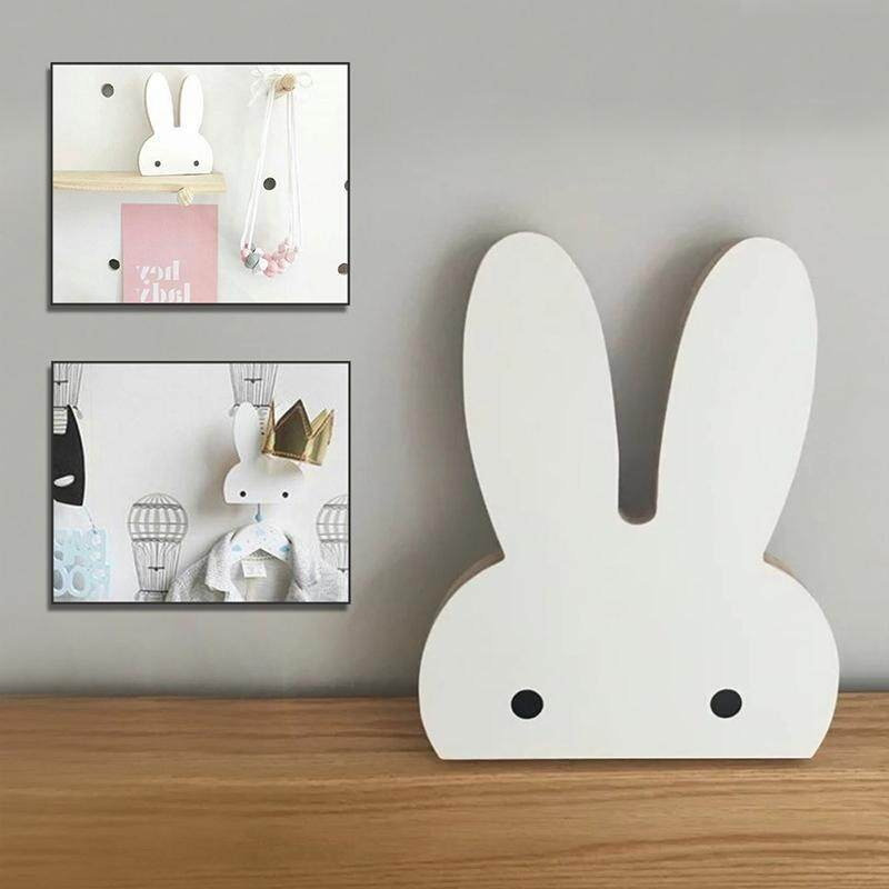 Creative Design Wooden Rabbit Wall Hanger Hook for Home Office, Max Load Weight: 2kg(White)