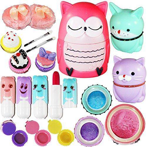Joyin Toy All-In-One Girls Makeup Kit Including 4 Lip Balms, 3 Lip Gloss, 2 Shimmer Powders/eyeshadow, And 1 Large Blush. By Cross Border.