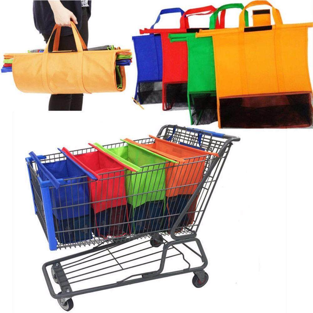 LISSNG 4 IN 1 Reusable Shopping Bags Eco Foldable Trolley Tote Grocery Cart Storage