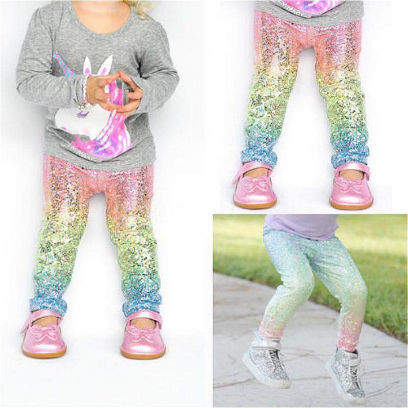 143030037eea3 Baby Girl Colorful Shiny Sequins Leggings Trousers Skinny Princess Casual  Bottom