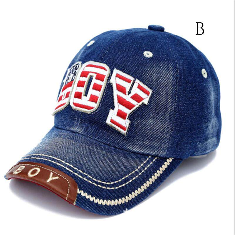 d77bb6634ce Summer Kids Baseball Cap Baby Boys Girls Caps Letter Boy Jean Denim Cap Sun  Hat B