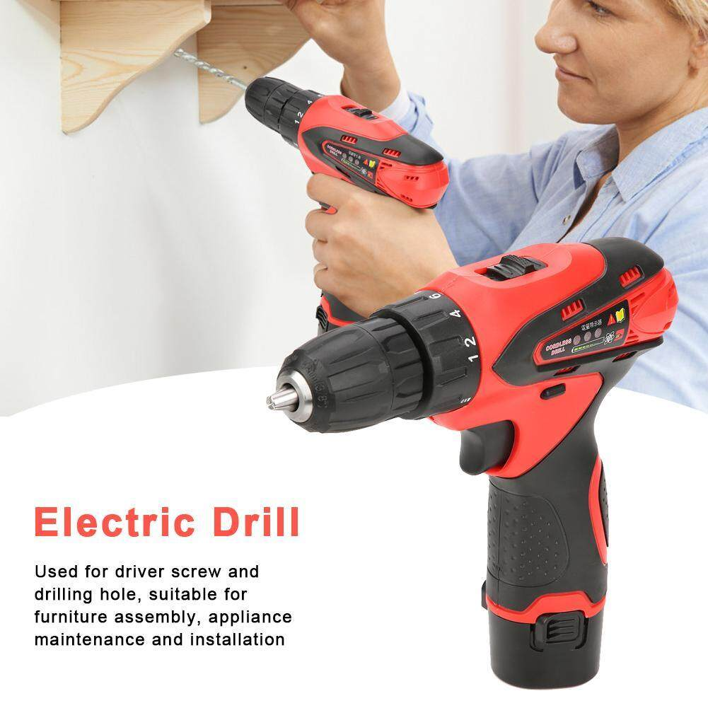Rechargeable Lithium Battery Handheld Cordless Electric Drill Screwdriver Kit(110V US plug)