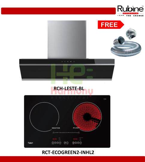 New : Rubine 1450 m³/hr Sensor Touch Cooker Hood RCH-LESTE-BL + Rubine Ceramic Induction Hob RCT-ECOGREEN2-INHL2 + Free Ducting