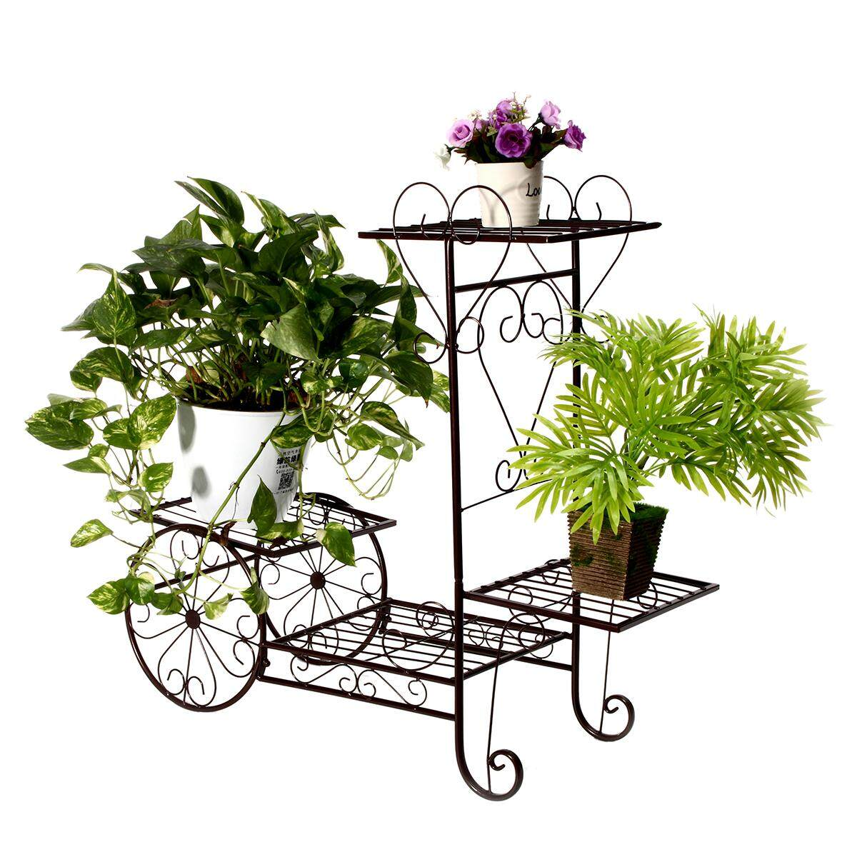 Iron Bicycle Flower Pot Cart White Black Plant Garden Metal Planter Stand Decora#Bronze