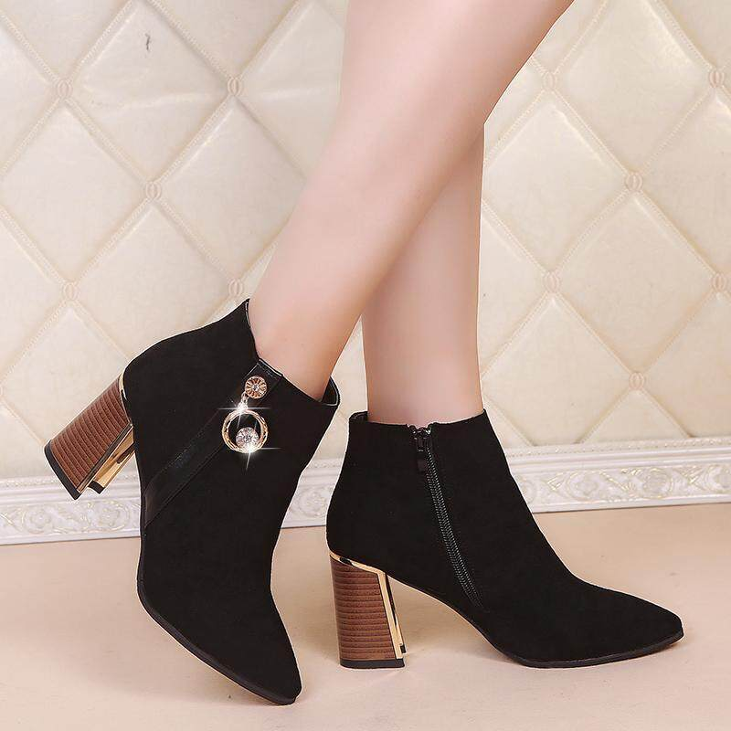 Sexy Zipper Suede Pointed Toe Thick High Heel Ankle Martin Boots for Women  Black 3247166570