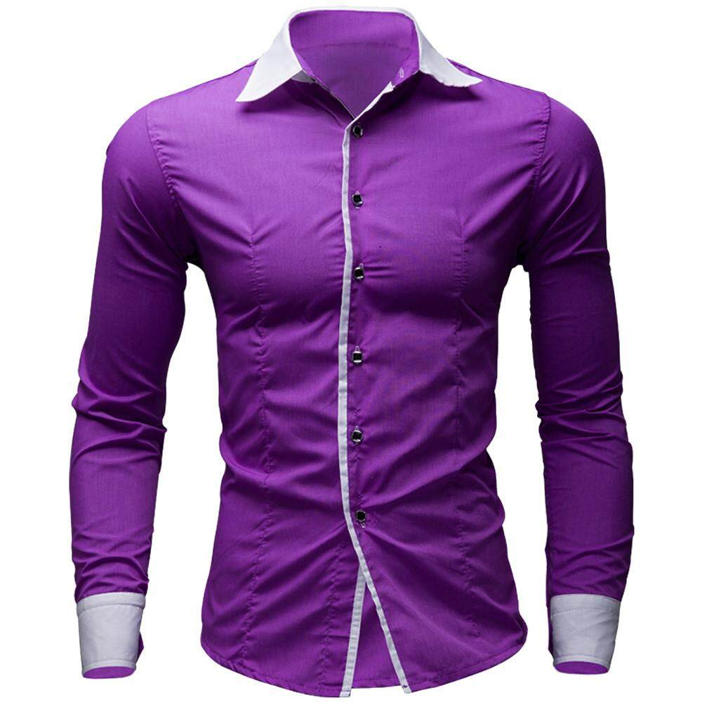 d2a1adb1e992 beautier Mens Casual Pure Color Long Sleeve Shirt Business Slim Fit Shirt  Printed Blouse