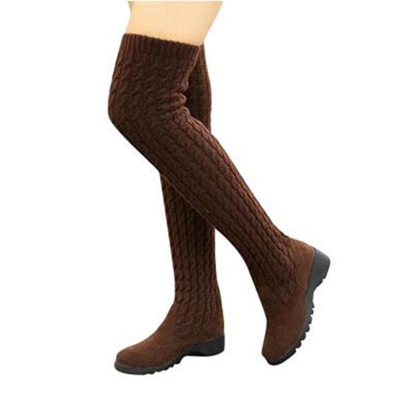 522b607e10cb  Winter Boots Help U Travel Around the World 2019 Fashion Knitted Women  Knee High