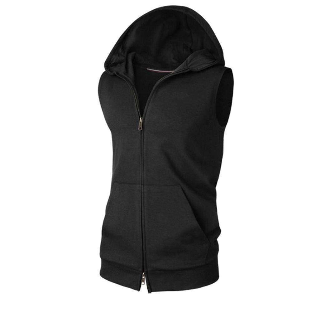 b011481af2e0d Men s Tie Hooded Solid Color Cardigan Sweater Sleeveless Sports Jacket Vest  Hoodie