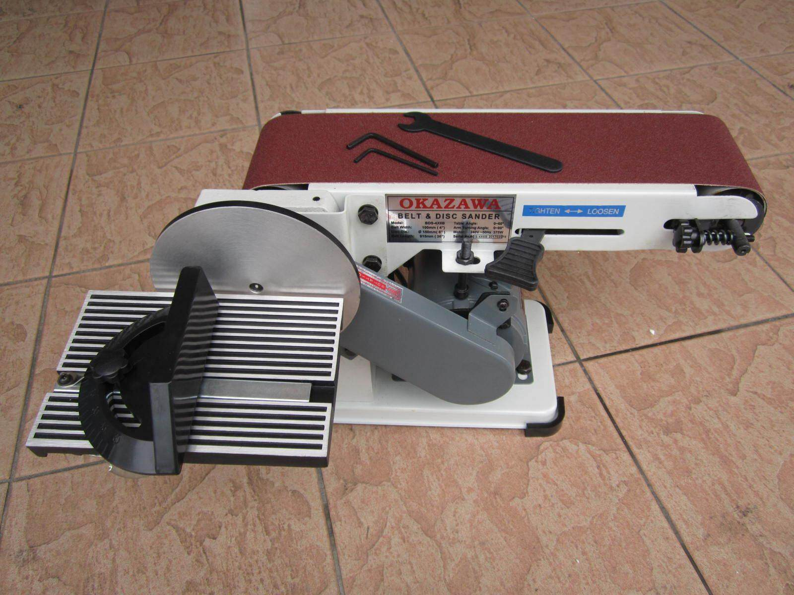 Okazawa 4 x 36 Belt and 6 Disc Sander Machine with Steel Base, Belt and Disc Sander
