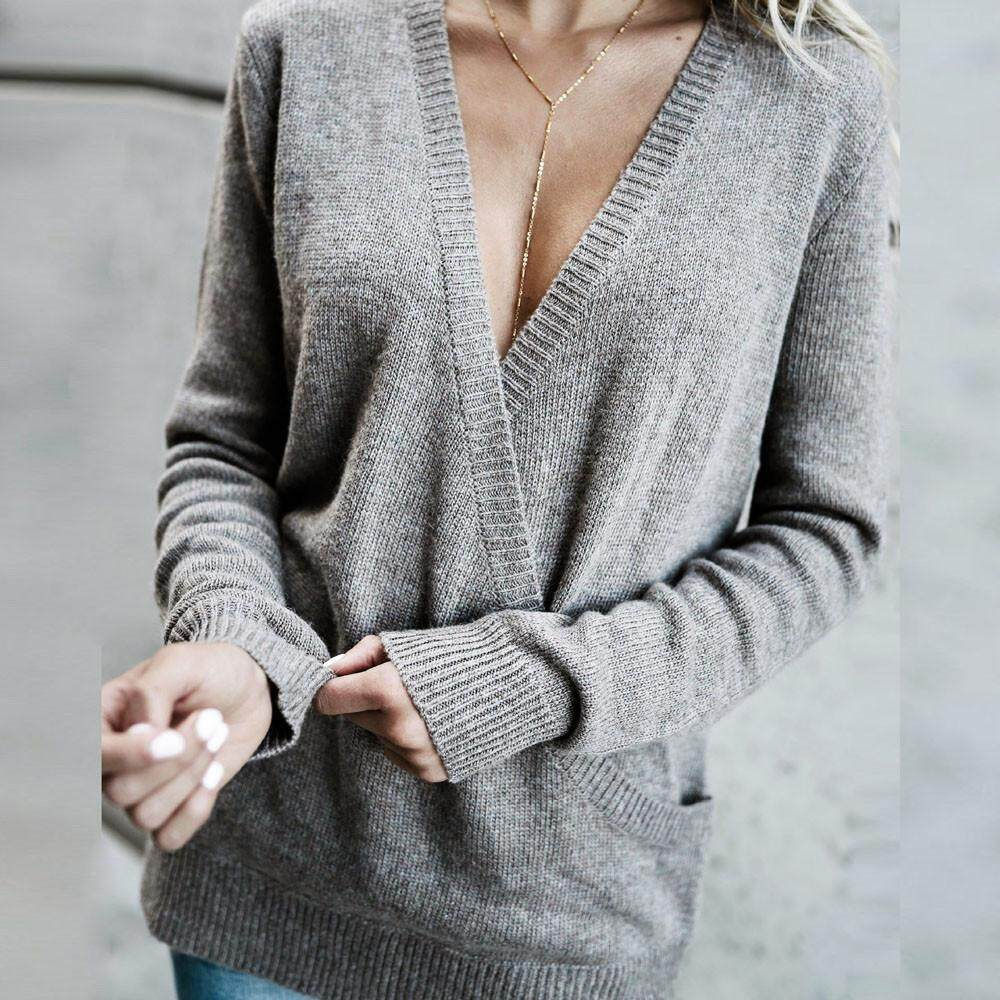 e4e04dc487 (Audestore) Autumn Women V-Neck Long Sleeve Knitted Sweater Jumper Pullover  T-