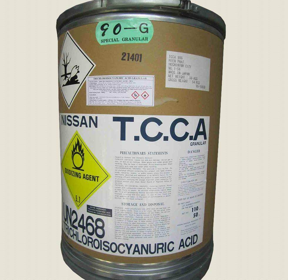 Chlorine Klorin 90% JAPAN - NISSAN TCCA 90Granules (50KG/DRUM TRICHLOROISOCYANURIC ACID)