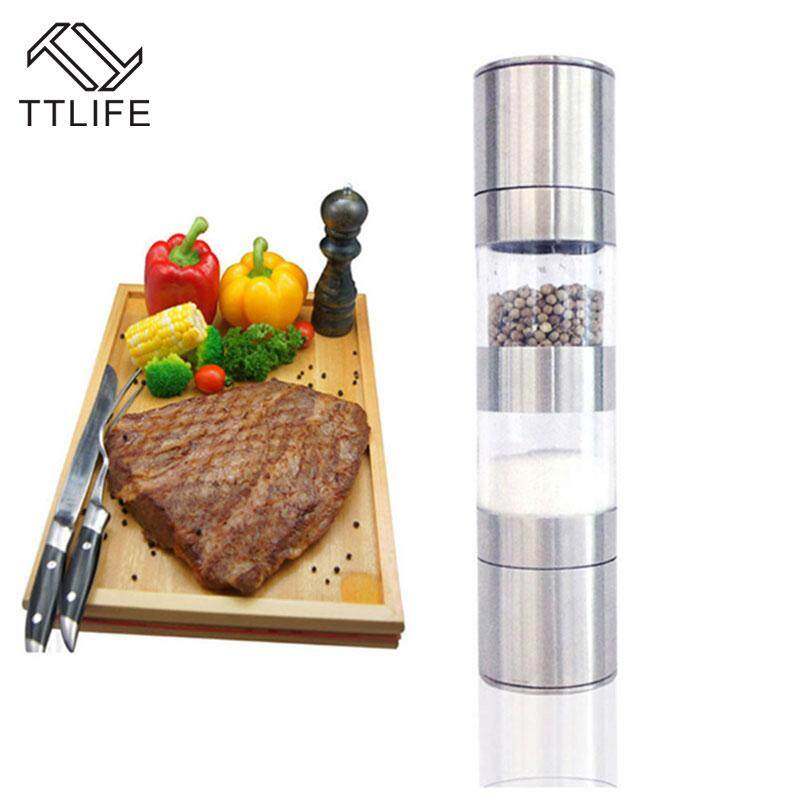Ttlife 2018 High Quality Stainless Steel Manual Salt Pepper Mill Grinder 2 In 1 Ceramic Core Portable Kitchen Mill Muller Tool By Ttlife Kitchen Store.