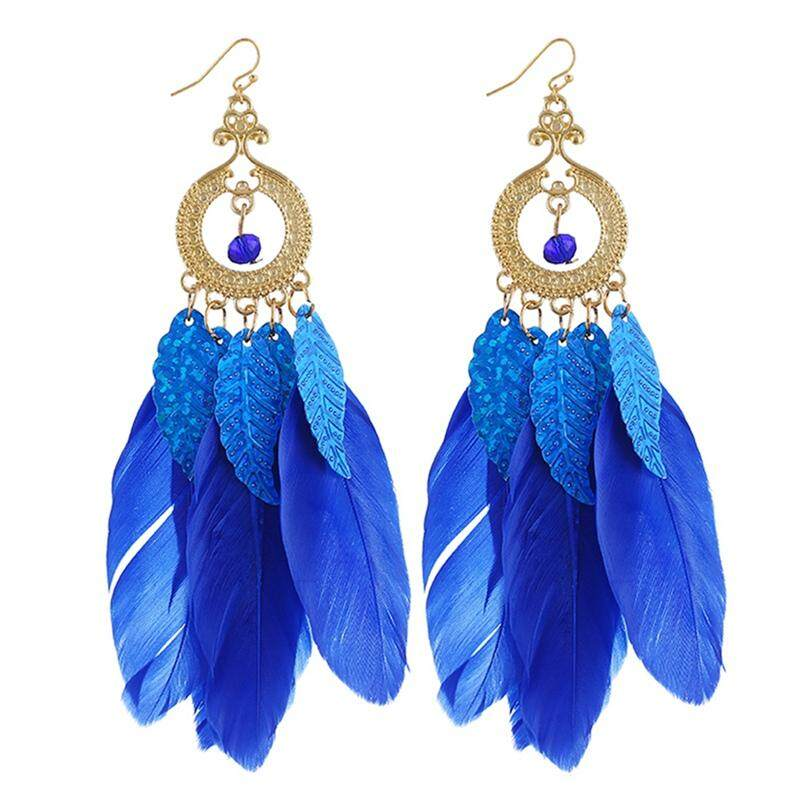 Bzy 1 Pair Women Dream Catcher Series Long Feather Leaves Tassel Drop Earrings By Beautyzy.