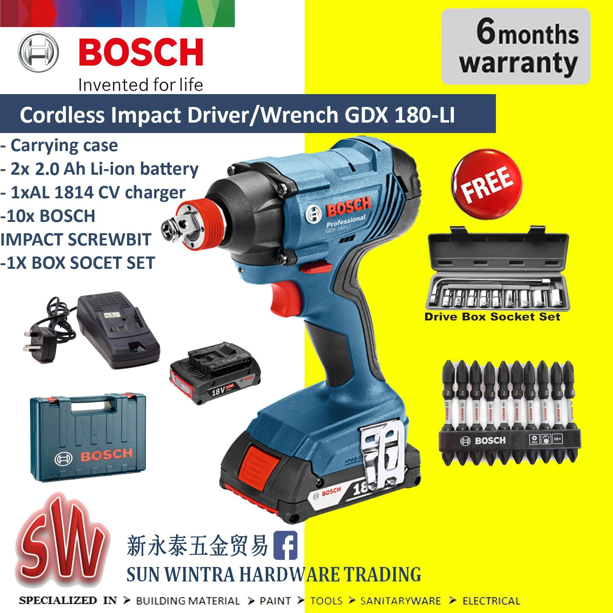 Bosch Home Drills Drivers Price In Malaysia Best New Bor Listrik 10mm Nrt Pro Gdx 180 Li Cordless Impact Driver Wrench Professional Foc 20x Accesorries