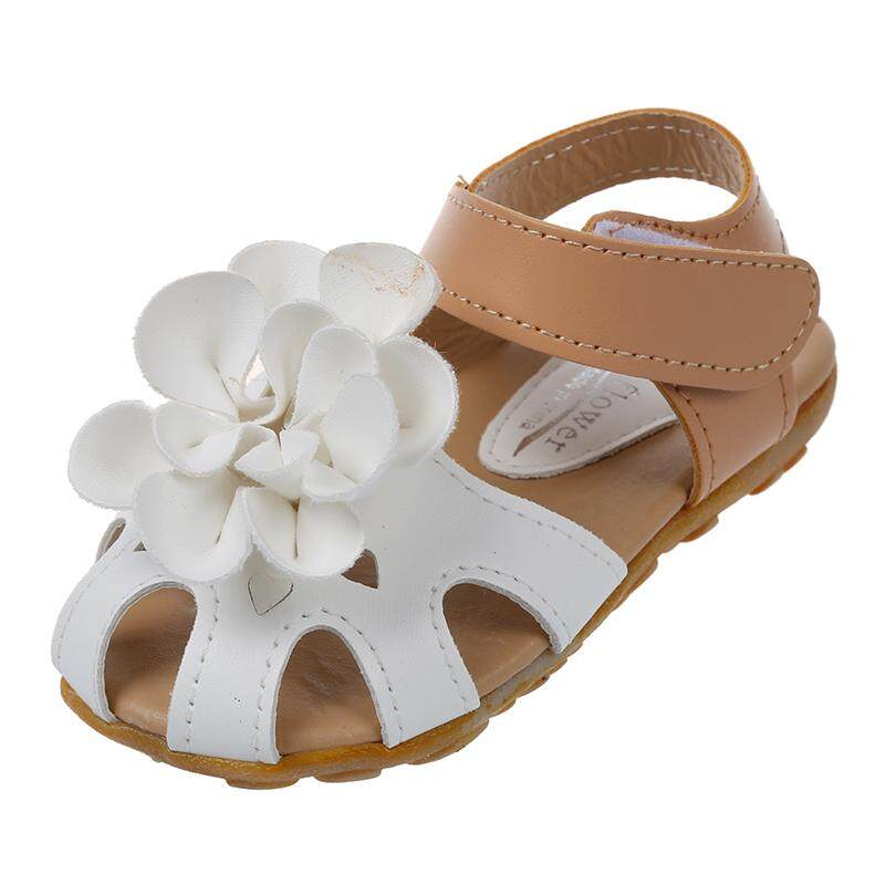 d2b69f2a5 White Summer Style Kids Shoes Girls Leather Sandals Children Casual Floral  Beach Sandals Girl Shoes US8