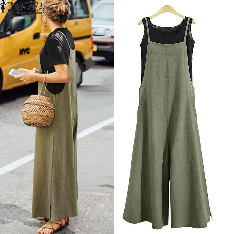 c18151294d2 ZANZEA Women Casual Solid Spaghetti Straps Wide Leg Pants Pockets Romper  Dungaree Bib Overalls Loose Cotton