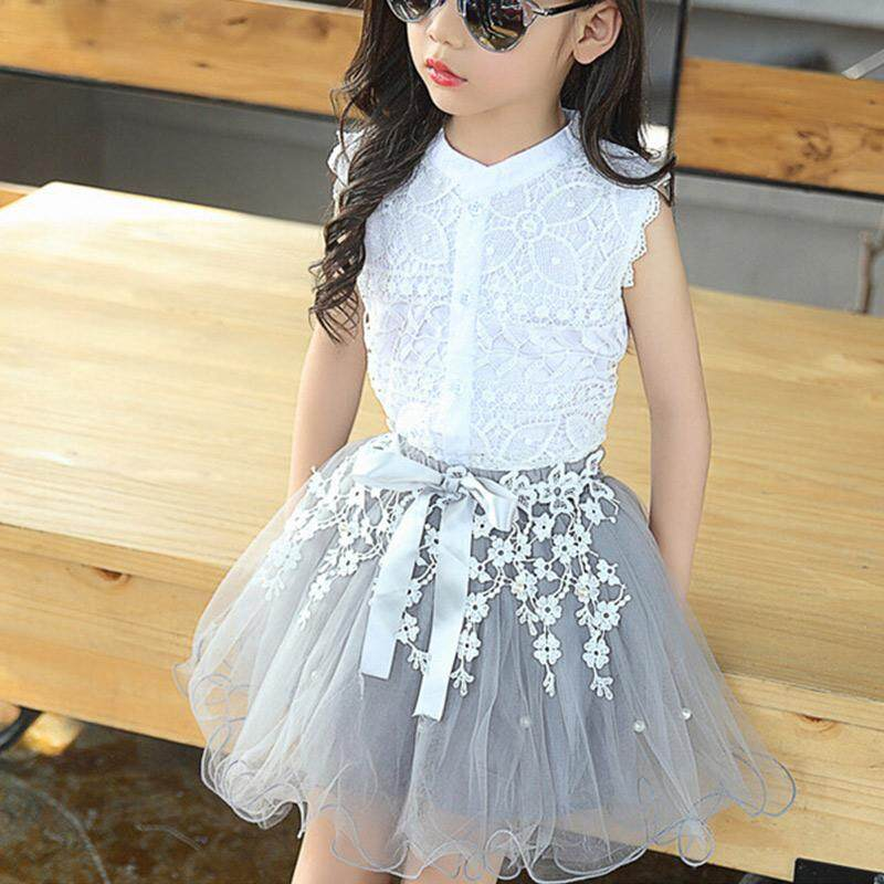9fc1bd745 DE Kids Girls Clothing Sets Summer Sleeveless Lace Tops + Lace Mesh Skirt 2  Pcs Suit
