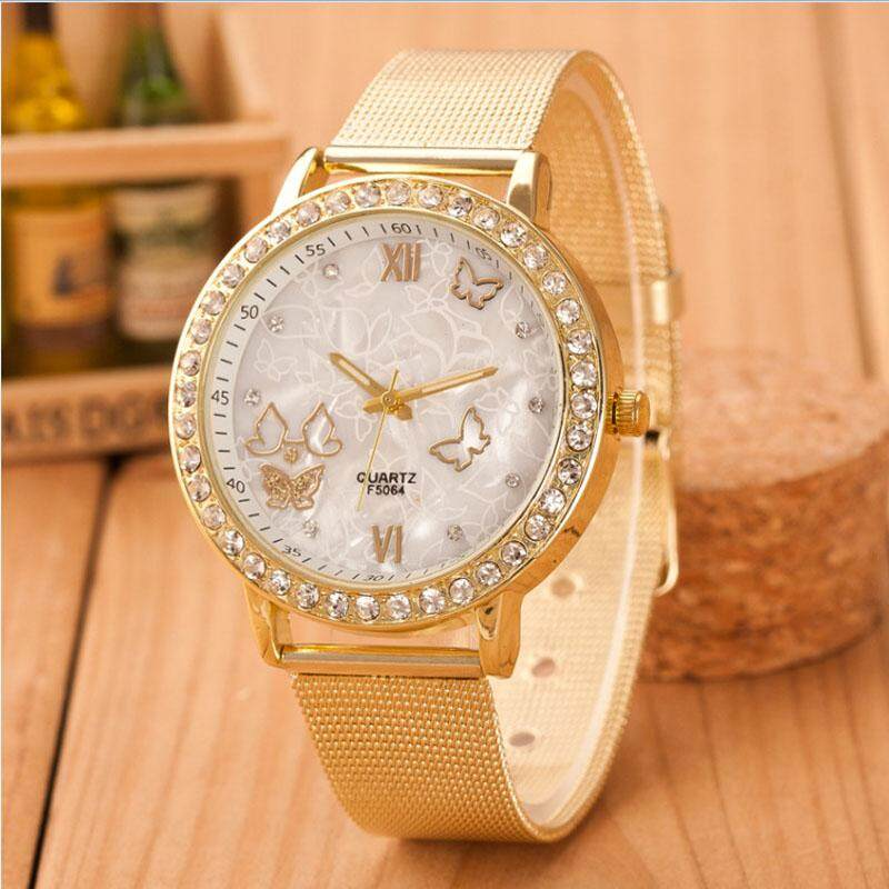 Inesshop Women Ladies Crystal Butterfly Gold Stainless Steel Mesh Band Wrist Watch By Inesshop.