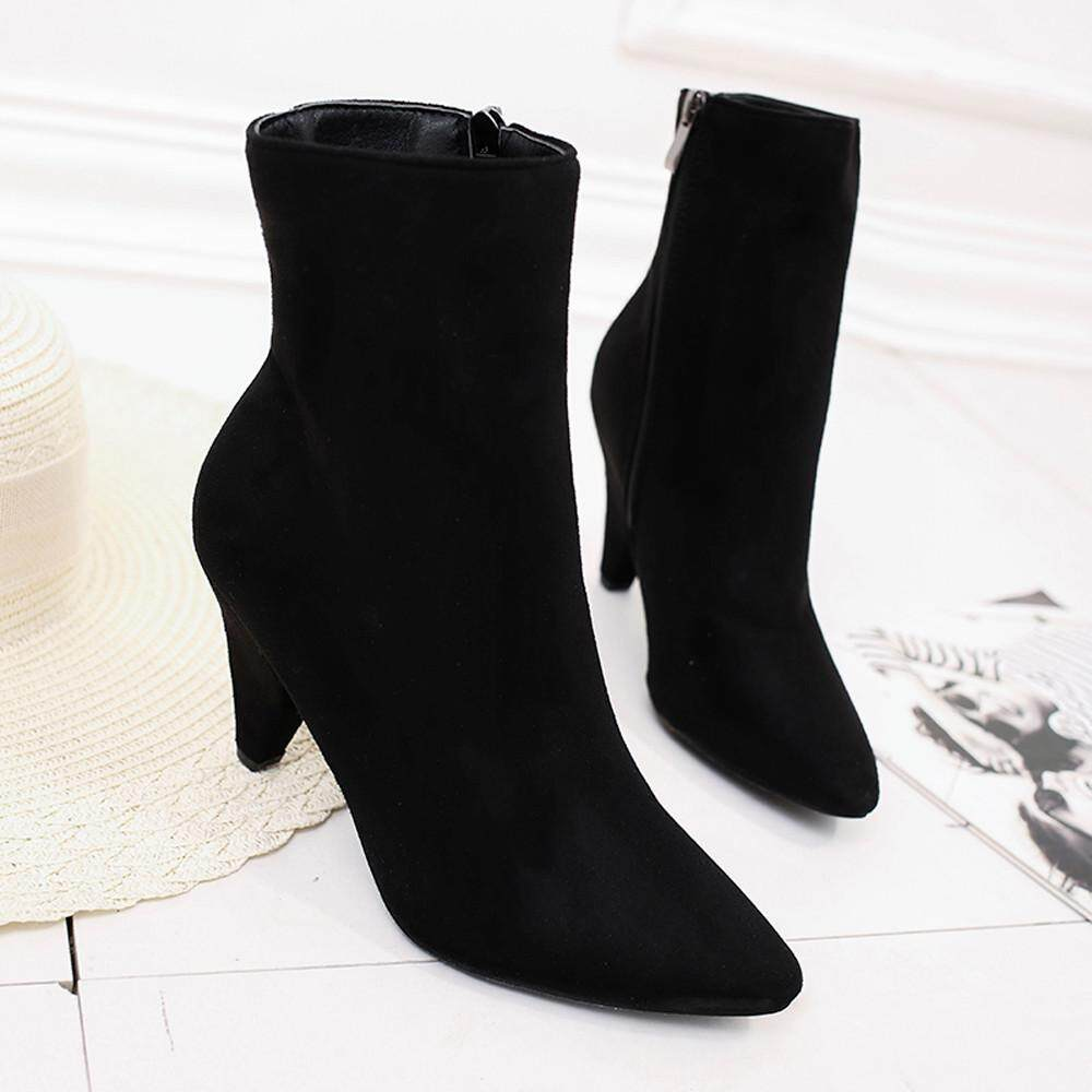 c6d3eced4d57 MONIMENT Women Flock Pointed Toe Casual Middle Tube Boots Zipper Thick High  Heels Shoes