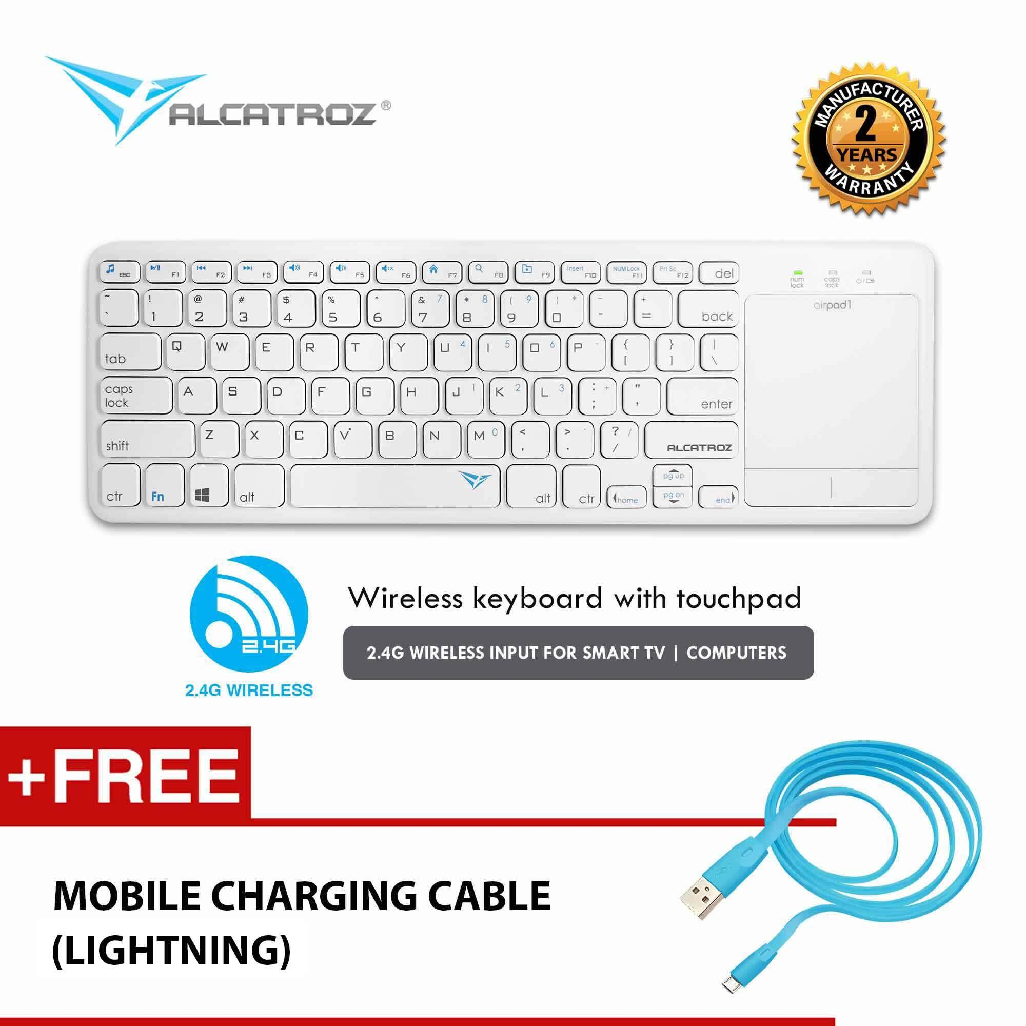 Alcatroz AirPad 1 Wireless Keyboard With Touchpad for Smart TV & Computer (PS4 Keyboard Compatible) Free Charging Cable Malaysia