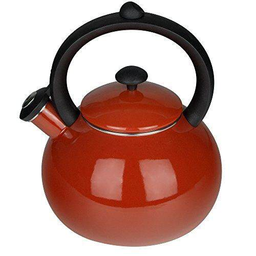 Aidea Aidea Enamel-On-Steel Teakettle - Soft Whistling Hot Water Tea Pot 2 Quart, Red By Cross Border.