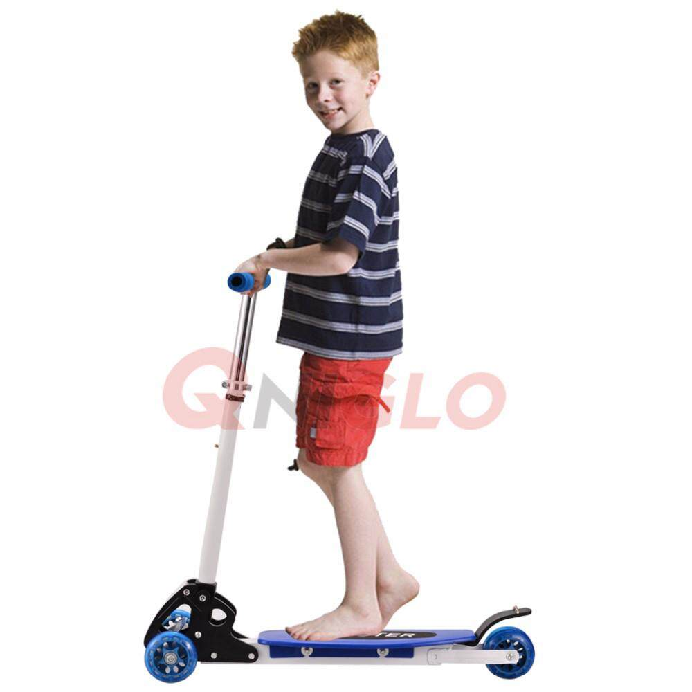 Foldable Three 3 Wheels Scooter Height Adjustable Ecosport Portable Kick Scooters Blue By Qniglo Sdn Bhd.