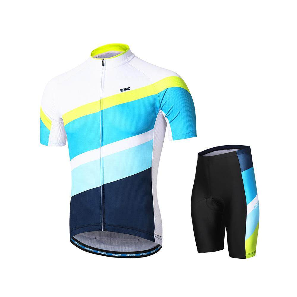 fb14985ab ARSUXEO Men s Cycling Clothing Set Short Sleeve Set Quick-dry Shirt 3D  Cushion Padded Short