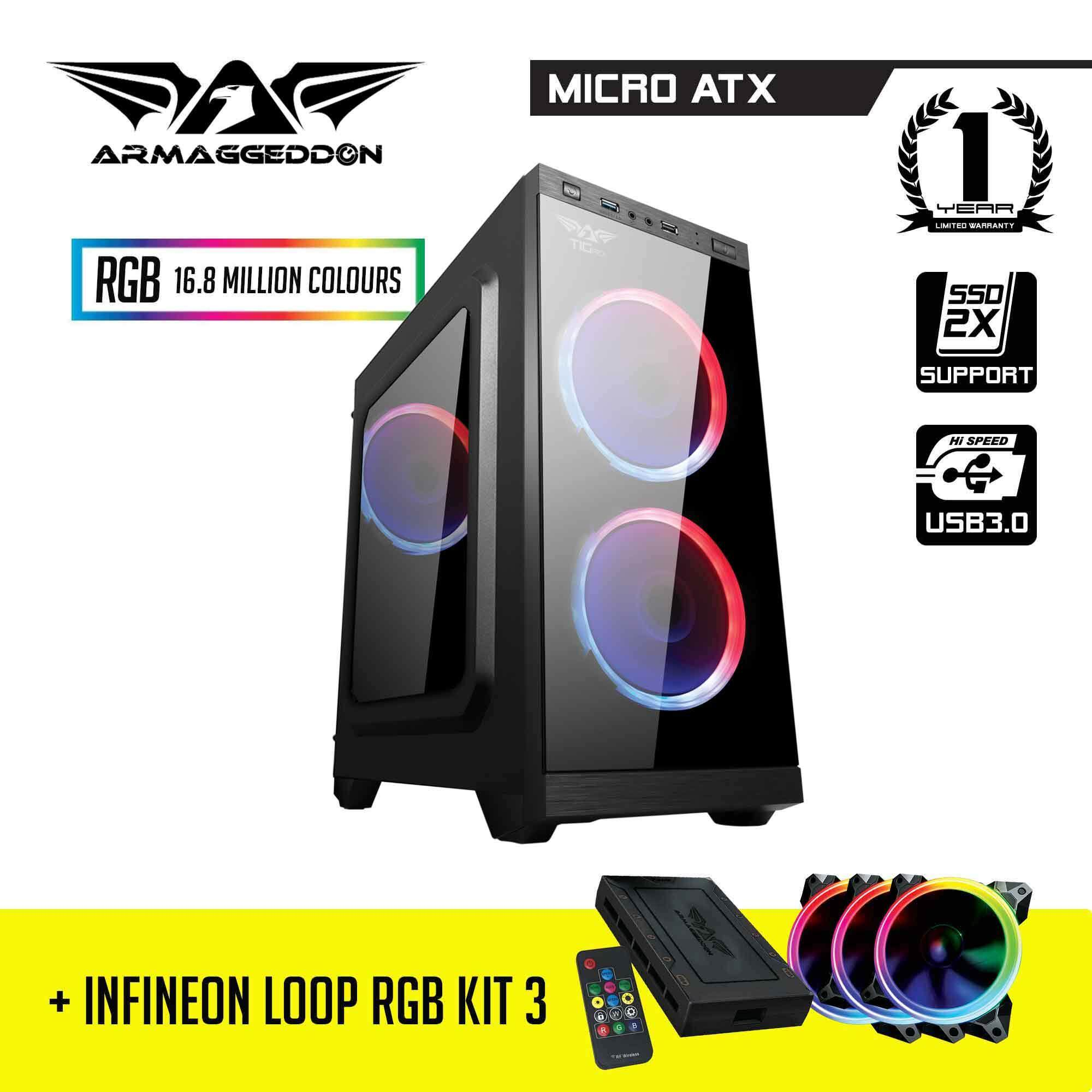BUNDLE: Armaggeddon T1G Pro Micro ATX Gaming Case and Infineon Loop RGB Kit 3 RGB Fan and FX Controller Malaysia